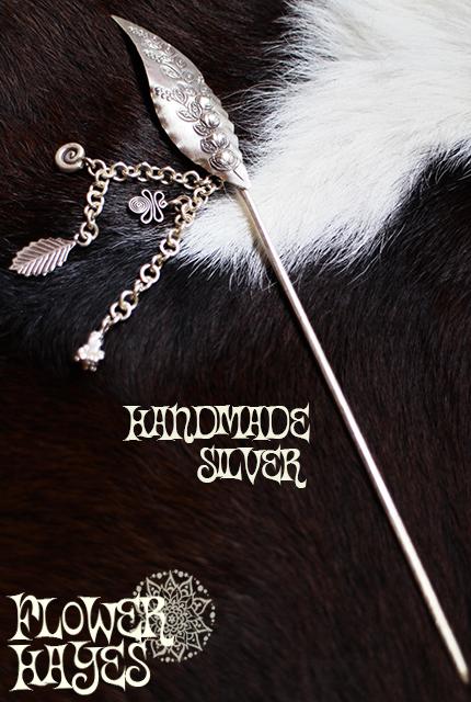 【Handmade silver accessory】シルバー*ピクシーかんざし/ヘアーアクセサリー【トライバル ボホ ボヘミアン ジプシー スタイルに♪