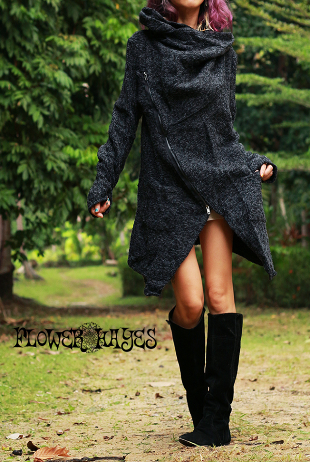 mixカラー★Bigフーディー×ボリューミーハイネック*斜めzip変形ジャケット【カラー*ブラック×ダークグレー】M-Lサイズ