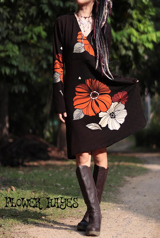 レトロ大花柄★起毛素材☆カシュクールデザインワンピース【カラー*ダークブラウン】Mサイズ