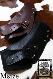 【Acid Cruise】Nocturnality leather belt/One ring【2カラー*ダークブラウン/ブラック】Mサイズ  (日本から発送商品と同梱不可、海外から発送)