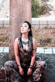 ドレープネック フーディー☆Gypsy ジャンプスーツ オールインワン/スーパーフレアパンツ【3カラー*ダークグレー/ブラック/タイダイ】フリーサイズ
