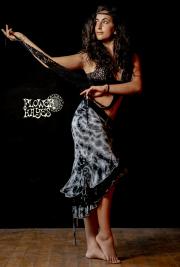 タイダイ*3段フリル×レース♪スーパーストレッチ☆ジプシー アシンメトリー変形スカート【2カラー*A/B】フリーサイズ