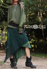 メッシュニット レイヤードデザイン♪スーパーストレッチ☆ジプシー 変形スカート【2カラー*グリーン/ブラック】M-LLサイズ