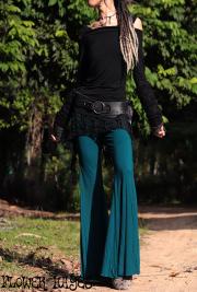 アシンメトリーレーススカート付き♪スーパーストレッチ素材*ジプシー フレアパンツ【2カラー*ターコイズ/パープル】フリーサイズ