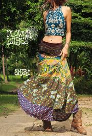 アフリカン調 バタフライ 花柄*スーパーストレッチ☆スーパーフレア ロングスカート【フリーサイズ】
