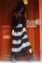 ボリューミー ティアード*ロングスカート【カラー*シルバー×ブラック】フリーサイズ