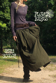 サイド絞りデザイン*変形バルーン 2way ロングスカート/ゆったりパンツ【3カラー*ダークオリーブ/ブラック/ダークブラウン】フリーサイズ