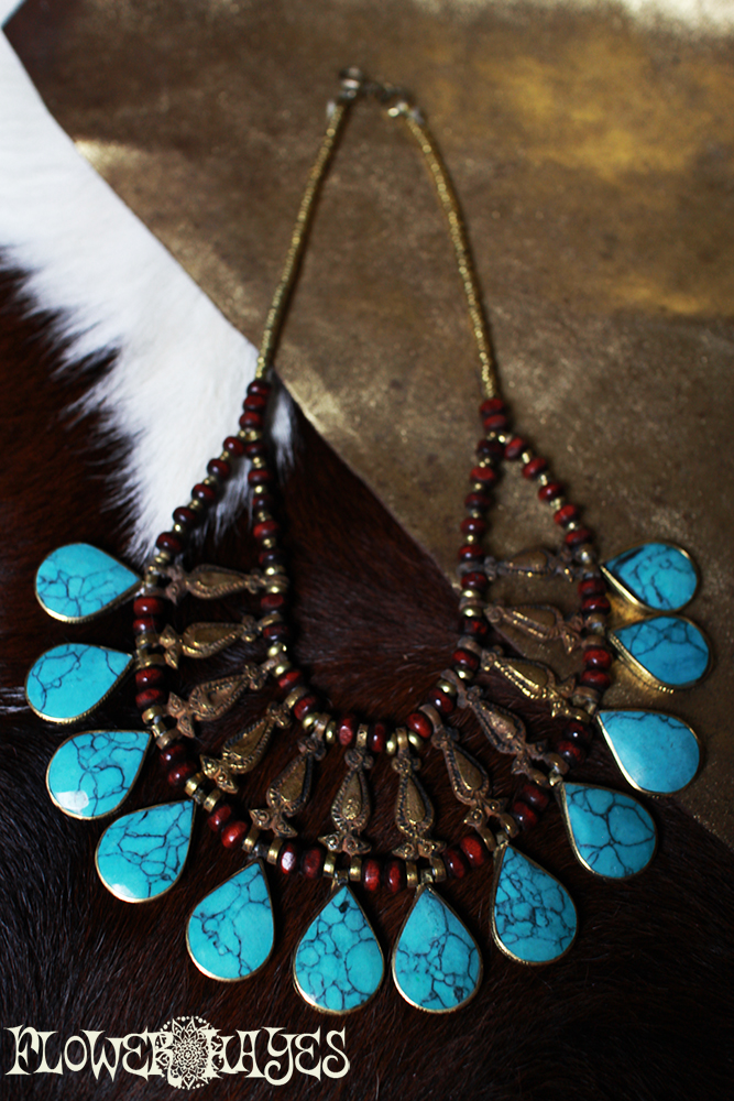 Kuchi tribal/民族*真鍮ヴィンテージ ジプシーネックレス【ターコイズ】トライバル ジプシー ボヘミアン ボホスタイルに♪