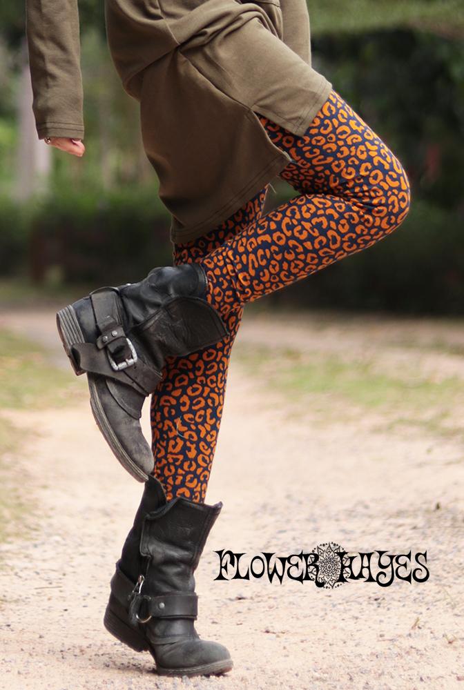レオパード アニマル ヒョウ柄♪ストレッチ*レギンス【カラー*ネイビー×マスタード】フリーサイズ