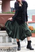 ウエストスーパーストレッチ☆ミリタリー変形ボリューミー カーゴスカート【3カラー*パープル/オリーブ/ブラック】M-LLサイズ