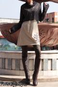 曼荼羅×刺繍♪レイヤードデザイン幾何学模様シースルー*バイカラー♪ハイネックワンピース【カラー*ブラック×ベージュ】Mサイズ