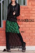 レイヤードデザイン☆シースルーレースロングスカート【2カラー*エメラルド/チェリーピンク】フリーサイズ