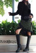 ポイントレース♪リバーシブル2way*変形巻きスカート【2カラー*ブラック×オリーブ】フリーサイズ