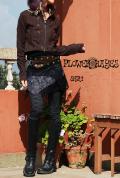 ポイントPUレザー*アシンメトリー&レース*スナップボタン&ポケット付き ベルトスカート【カラー*ブラック×ブラウン×グレー】フリーサイズ