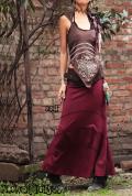 オーガニックコットン100%*切り替えデザイン 変形フレアロングスカート【2カラー*ベージュ/ワインレッド】S-M M-Lサイズ
