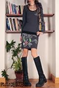 オーガニックコットン×スパンデックス*葉っぱ×花柄×刺繍デザイン♪スカート切り替えデザインワンピース【カラー*グレー】S M Lサイズ