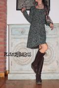 オーガニックコットン×スパンデックス*総柄♪ポイントタックデザイン 美型ワンピース【カラー*ミント/ネイビー/ブラウン/グリーン】S M Lサイズ