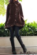 リーフ刺繍*フーディー×ハイネック☆フリース フレアジャケット【カラー*ブラウン】S-M M-Lサイズ
