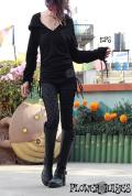 オーガニックコットン×エラスタン*ストレッチ素材♪ポイント曼荼羅★袖&裾サイド絞り*フーディーチュニック【カラー*ブラック】Sサイズ