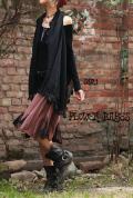 オーガニックコットン×スパンデックス*切り替えデザイン 曼荼羅♪Bigフレア ミディアム丈スカート【Lサイズ 】