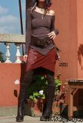 オーガニックコットン*葉っぱプリント♪ラップデザインスカート【カラー*ブリックレッド】フリーサイズ