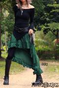 ふんわりシルエット★ジプシー変形フィッシュテールスカート【2カラー*ティルグリーン/ブラック】S/M M/Lサイズ