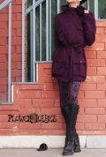 ハイネック×フード*ウエスト&裾絞りデザイン♪スプリング ジャケット【5カラー*ブラック/ブラウン/オリーブ/パープル/ダークグレー】S M Lサイズ