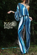 アート*バタフラースリーブ ワンショルダー♪ジャンプスーツ/オールインワン/コンビネゾン【カラー*シーブルー 】M−Lサイズ