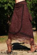 Cotton 花柄レース♪巾着付き☆アシンメトリー*ウエストスナップボタン 変形巻きロングスカート【2カラー*ブラウン/ブラック】M/L-LLサイズ