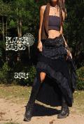 レース&フリル*ジプシー変形フィッシュテールスカート【カラー*ブラック×ダークグレー】フリーサイズ