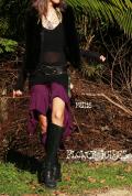 裾アシンメトリーフィッシュテール*スーパーストレッチ★ジプシー変形ハーフパンツ【3カラー*パープル/ブラック/ブラウン】フリーサイズ
