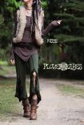 スリットフリル♪スーパーストレッチ★ジプシーパンツ【4カラー*ダークブラウン/ブラック/ダークグレー/オリーブ】フリーサイズ