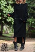 Bigカンガルーポケット×Zipデザイン♪起毛素材♪オーバーサイズ フーディー変形ワンピース【2カラー*チョコレート/ブラック】フリーサイズ