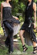 ペイズリー柄♪ストレッチ☆ジプシー2way変形スカート/チュニック【カラー*ブラック×グレー】フリーサイズ