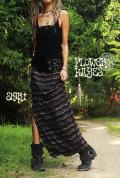 幾何学模様ジャガード*スーパーストレッチ☆スリットロングスカート 【カラー*ブラック】M-Lサイズ
