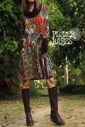 エキゾチック ペイズリー柄♪バイカラータートルネック&指穴デザイン袖*起毛素材☆ミディアムワンピース【カラー*ブラウン】フリーサイズ