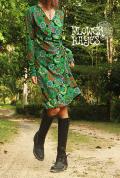 曼荼羅♪カシュクールデザイン*起毛素材☆Aラインワンピース【カラー*グリーン×ブラック】フリーサイズ