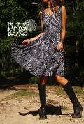 Psychedelic 幾何学Flower*Aライン フレアワンピース【カラー*ブラック×グレー×ホワイト】フリーサイズ