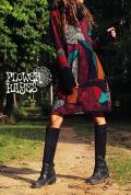 アート柄♪バイカラータートルネック&アームホール*起毛素材☆ミディアムワンピース【フリーサイズ】