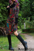 Colorful psychedelic クレイジージャングル♪バイカラータートルネック&アームホール袖*起毛素材☆ミディアムワンピース【フリーサイズ】