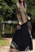 起毛素材♪曼荼羅*スーパーストレッチ☆スーパーフレア ロングスカート【カラー*ブラック】M-LLサイズ