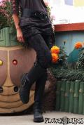 オーガニックコットン×ライクラ*スネーク柄 ヘビ柄♪スカート付き☆レギパン【カラー*ダークグレー】Sサイズ