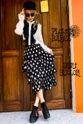 ドット柄 水玉柄♪ボリューミー ティアード プリーツフリル ロングスカート【カラー*ブラック/ホワイト/ブルー】フリーサイズ