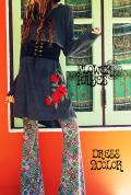 花立体刺繍 *リブニットゆったりワンピース【2カラー*ブラック/ダークグレー】フリーサイズ