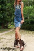 クラッシュデニム*オーバーオールスカート/サロペットスカート/ジャンパースカート【カラー*ヴィンテージインディゴ】S M Lサイズ