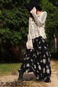 モノトーン 花柄*ティアードフリルデザイン♪ボリューミーロングスカート【フリーサイズ】