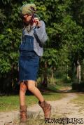 ストレッチデニム*オーバーオールスカート/サロペットスカート/ジャンパースカート【カラー*ヴィンテージインディゴ】S M Lサイズ