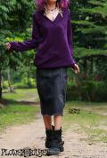 ブラックストレッチデニム*ミディアムスカート/デニムスカート【カラー*ヴィンテージブラック】S M Lサイズ