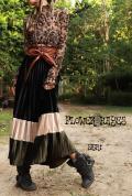 ベロア素材*配色プリーツロングスカート【2カラー*A/B】フリーサイズ