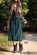 ラメ入り*プリーツロングスカート【4カラー*グレー/メープル/グリーン/ブラック】フリーサイズ